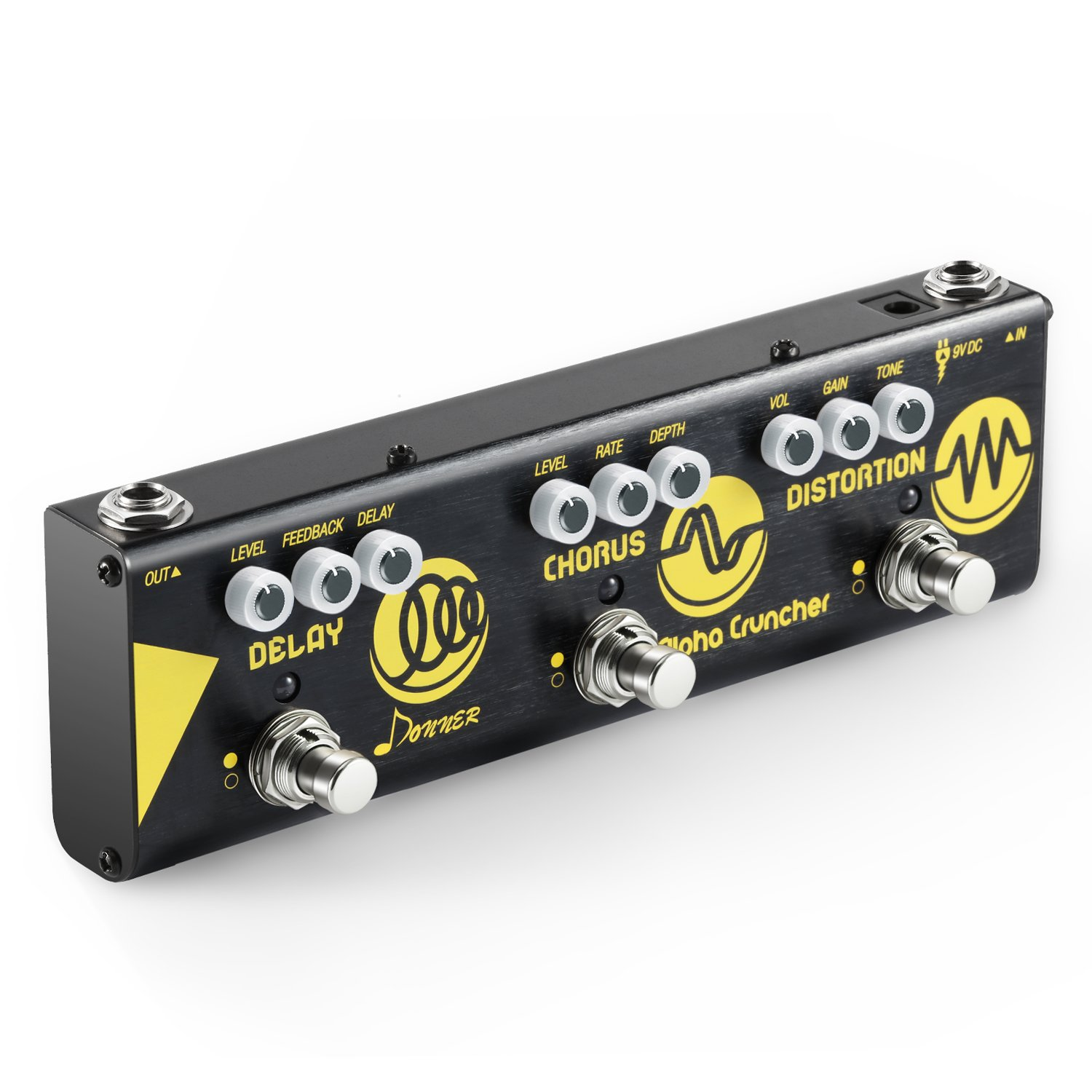 Donner Multi Guitar Effect Pedal Alpha Cruncher 3 Type Effects Delay Chorus Distortion Pedal with Adapter by Donner
