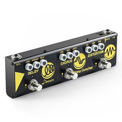 Donner Pedal Multiefectos para Guitarra Alpha Cruncher 3 Tipos Efectos Delay Chorus y Distortion en 1