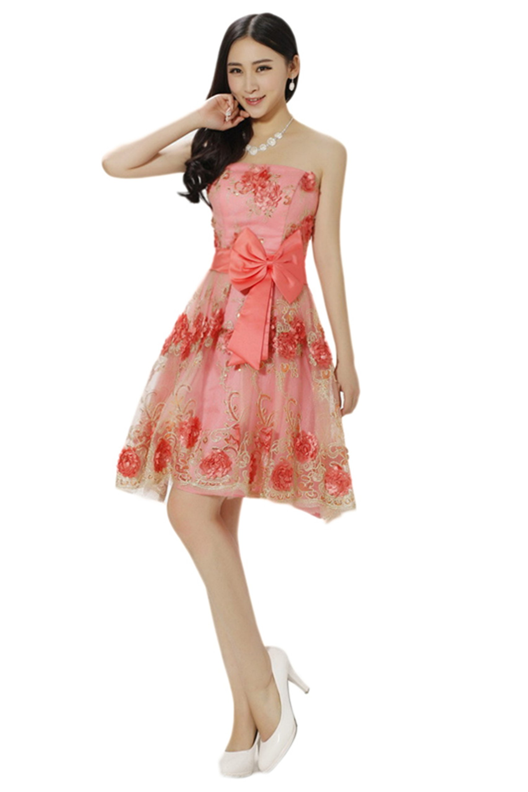 New women's fashion wedding toast evening dress - lace dress (XXL, watermelon red)