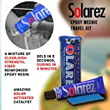 SOLAREZ UV Cure Epoxy Ding Repair Weenie Travel Kit (0.5 oz Tube) - SUP/Surfboard Repair - Fast Solar Cure Clear Resin w 60/240 Grit Sand Block w Crushproof Travel Container ~ EPS