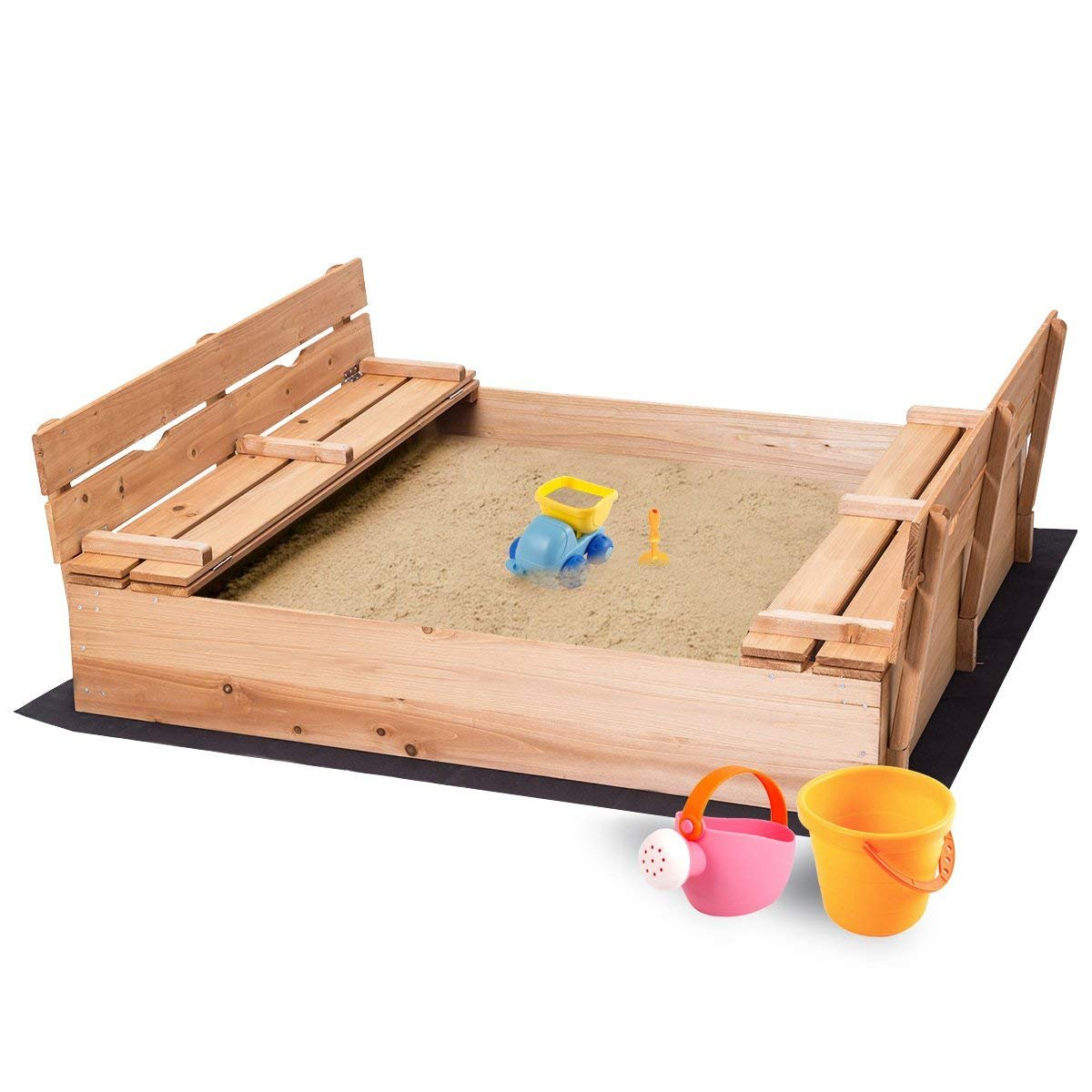 Costzon Kids Foldable Cabana Sandbox 2 Convertible Benches & 1 Piece Black Non-Woven Fabric Cloth (47-inch)