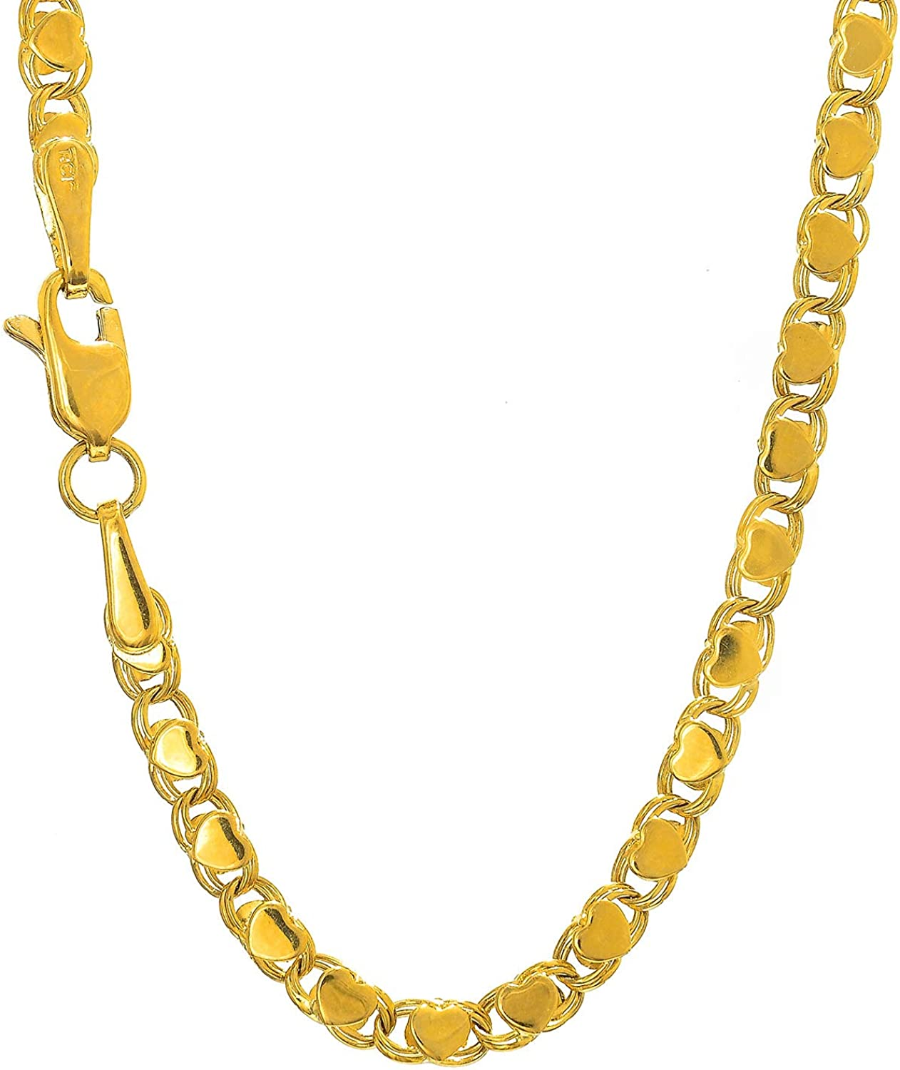 14k Solid Yellow Gold 3 mm Heart Chain Anklet Lobster Claw Clasp 3.8gr. 10 Inches