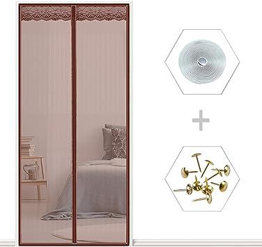 ANUO - Puerta mosquitera para puerta con imanes, resistente, duradera, de fibra de vidrio, para puertas francesas: Amazon.es: Bricolaje y herramientas
