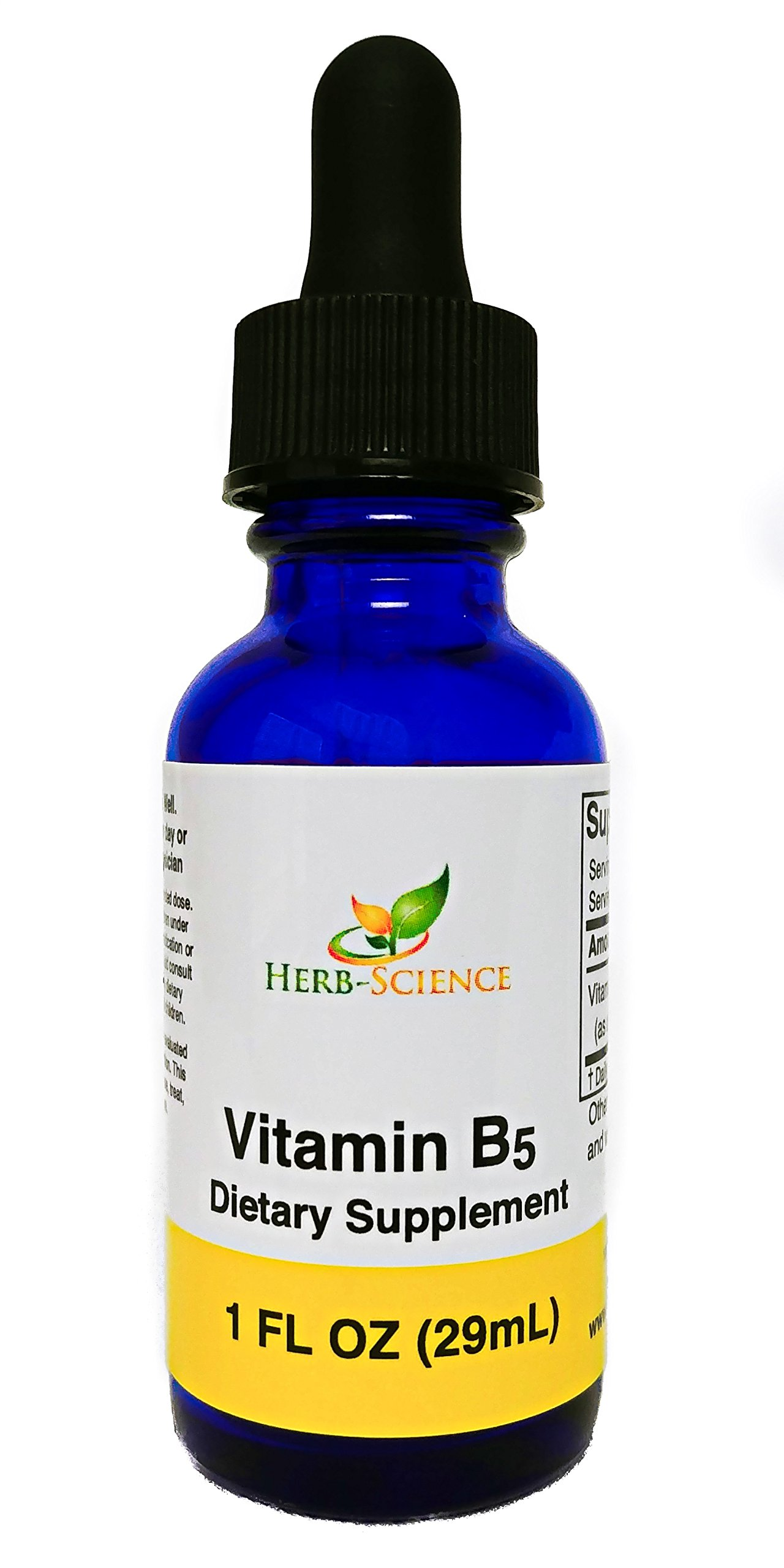 Vitamin B5 Pantothenic Acid, Alcohol-Free Liquid Extract Maintain Healthy Hormones, Support Heart Health, Help Keep Skin and Hair Healthy and Support Immune System - Herb-Science by Herb-Science