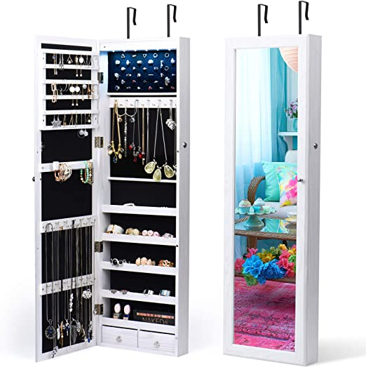 White TWING Jewelry Armoire Jewelry Organizer Wall Mounted Lockable 6 LEDs Wall Mounted Jewelry Armoire with Mirror 3 Drawers Door Large Jewelry Armoire Cabinet