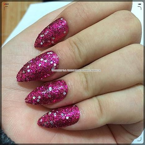 ecbasket 24 x mágico bruja Talon uñas negro con purpurina colores falsas uñas acrílico uñas