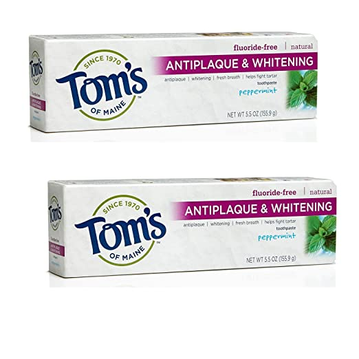 Tom's of Maine Antiplaque and Whitening Fluoride-Free Toothpaste, Peppermint, 5.5 oz., Pack of 2
