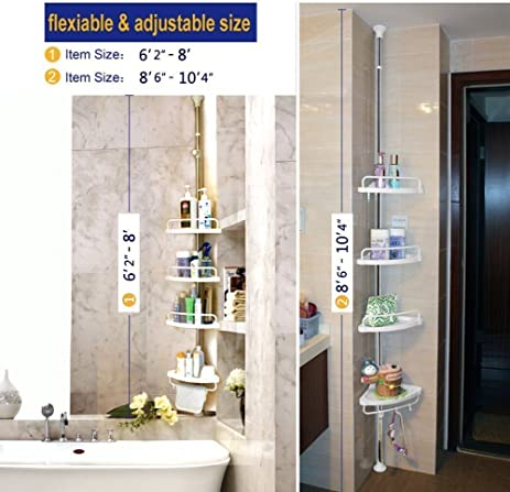 adjustable corner shower caddy bathroom constant tension pole rustproof corner rack