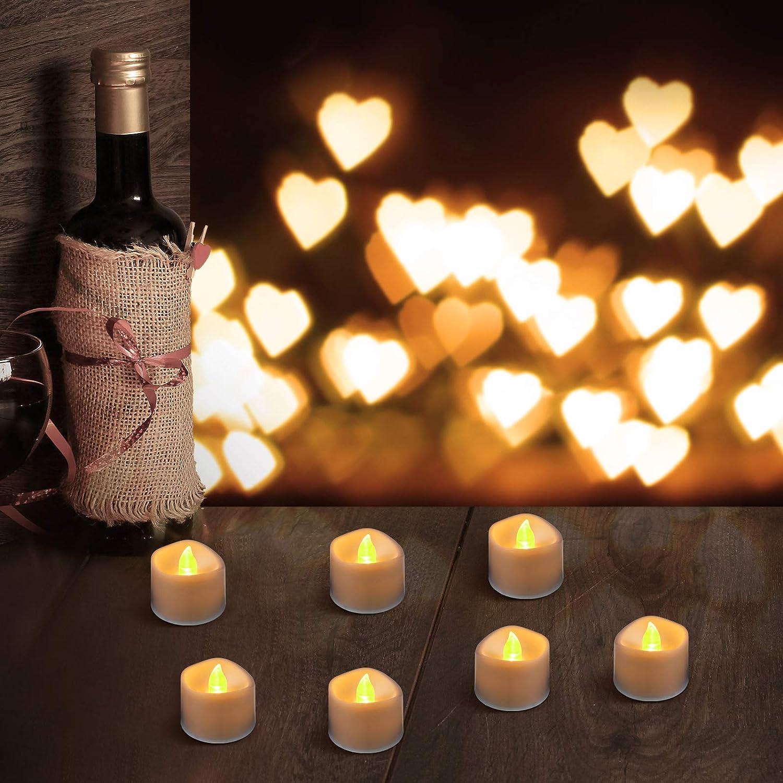 Valentine 6 Pezzi Candele LED Senza Fiamma Luci Candele a Batteria Tremolante Candela Finta Elettrica in Giallo e Onda Aperta Matrimonio 1,5 x 1,4 Pollici Decorazione di Candele per Natale