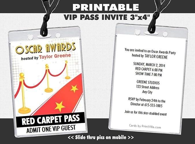 amazon com red carpet oscar awards party vip pass invitation
