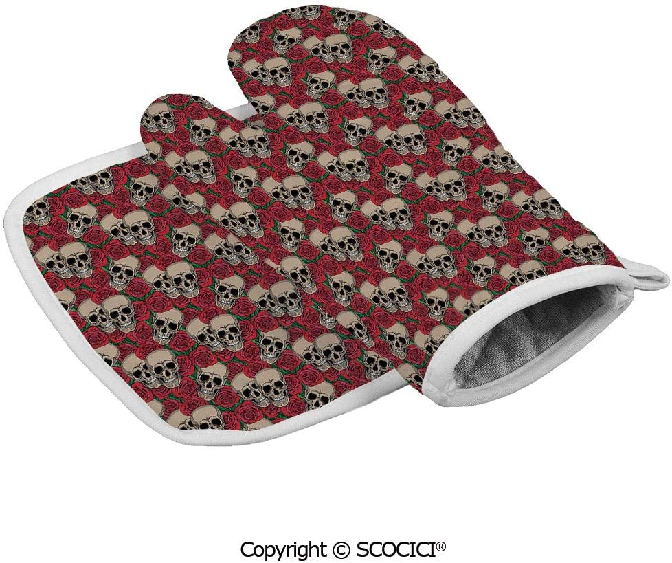 SCOCICI Oven Mitts Glove - Graphic Skulls and Red Rose Blossoms Halloween Inspired Retro Gothic Heat Resistant, Handle Hot Oven Cooking Items Safely