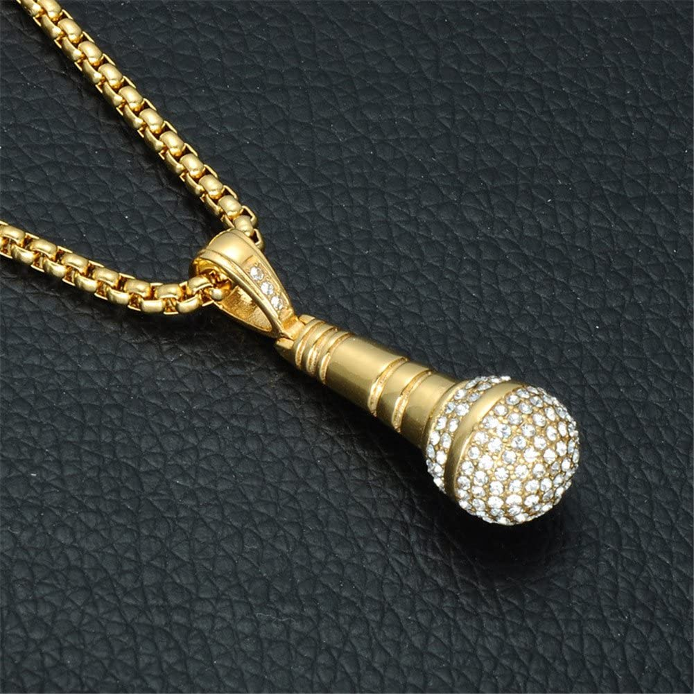 PAURO Mens Stainless Steel Hip Hop Diamond CZ Microphone Pendant Charm Necklace with Chain 24