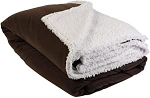 DII Polar Sherpa Fleece Throw Blanket, 90 x 90, Chocolate