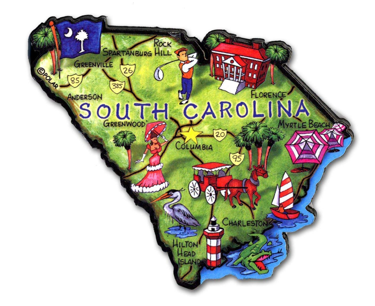 South Carolina the Palmetto State Artwood Jumbo Fridge Magnet