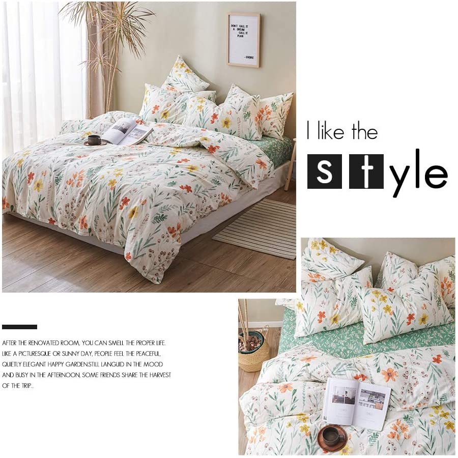 HIGHBUY Girls Duvet Cover Twin Floral Bedding Sets Full Cotton Sateen Floral Duvet Cover Set Twin Single Size Comforter Cover Green Reversible Yellow Cotton Bedding Sets Twin Size