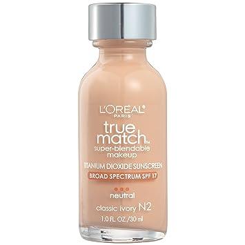 L'Oreal Paris Makeup True Match Super-Blendable Liquid Foundation, Classic Ivory N2