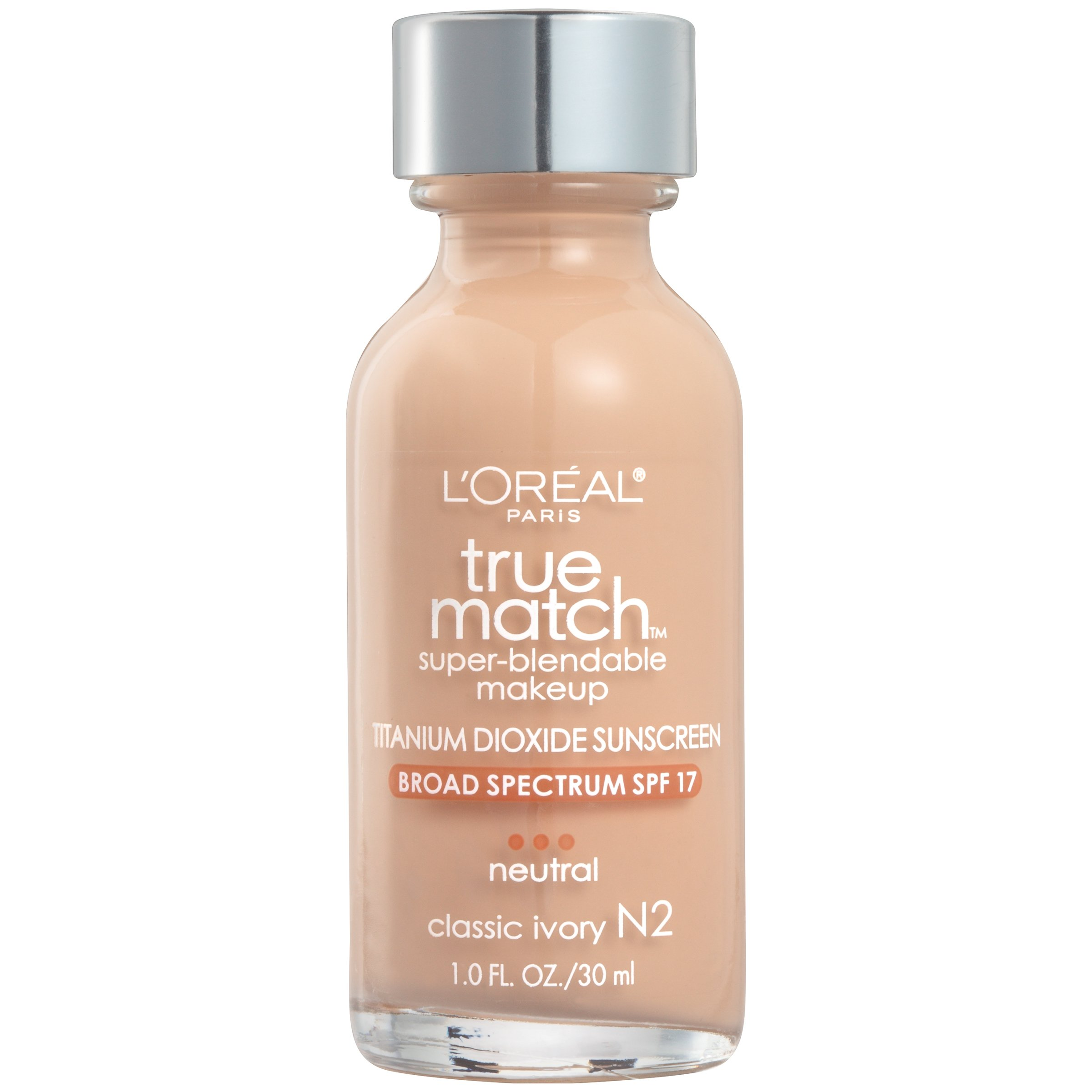 L'Oréal Paris True Match Super-Blendable Foundation Makeup, Classic Ivory, 1 fl. oz.