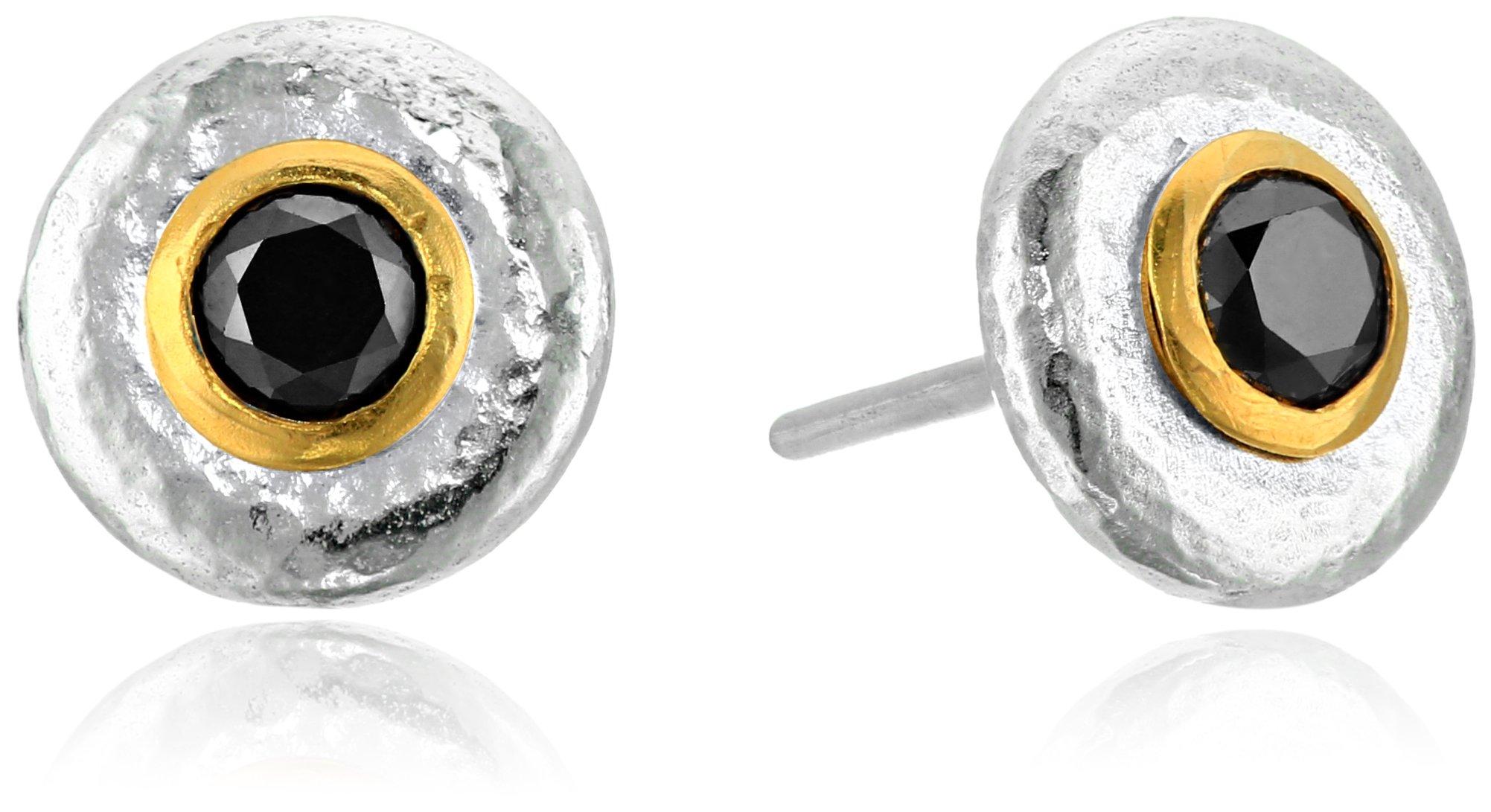 GURHAN ''Droplet'' Sterling Silver Black Diamond Stud Earrings (5/8cttw)