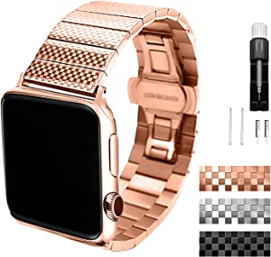 Metal band compatible with Apple Watch SE /6/5/4/3/2/1/ Series 42mm 44mm stainless steel strap for men/women Rose gold