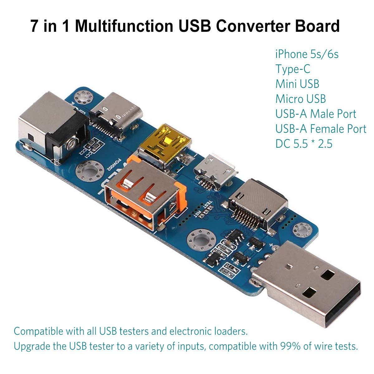 Makerhawk Usb Converter Board 7 In 1 Multifunction Testing Circuit Tester Meter Multimeter Ammeter Capacity Monitor Instruments Parts Type C Micro Mini