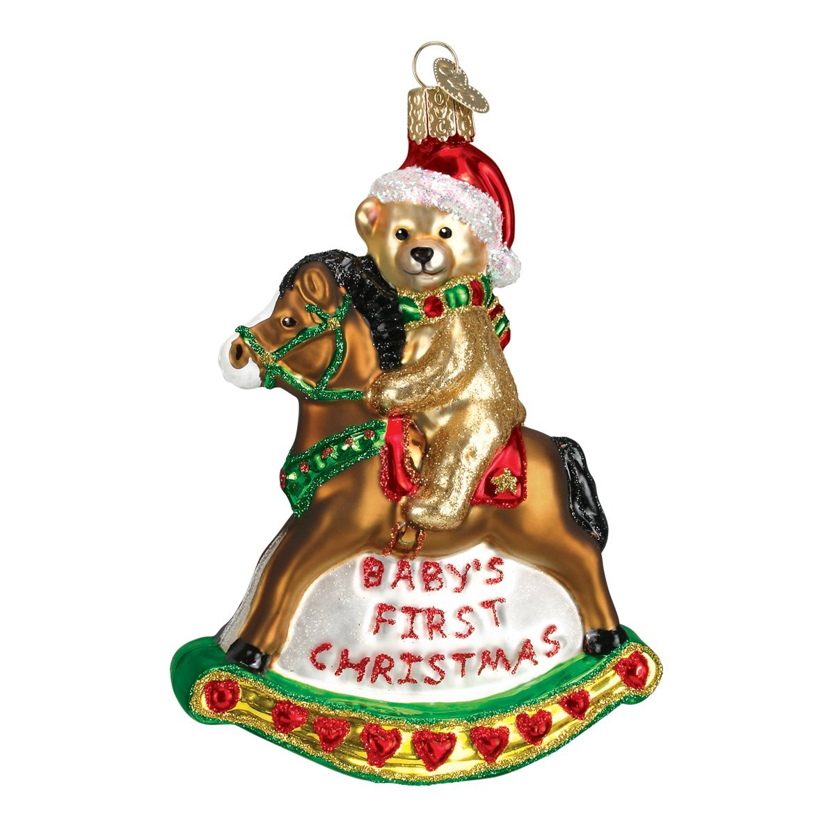 Amazon: Old World Christmas Rocking Horse Teddy Glass Blown Ornament:  Home & Kitchen