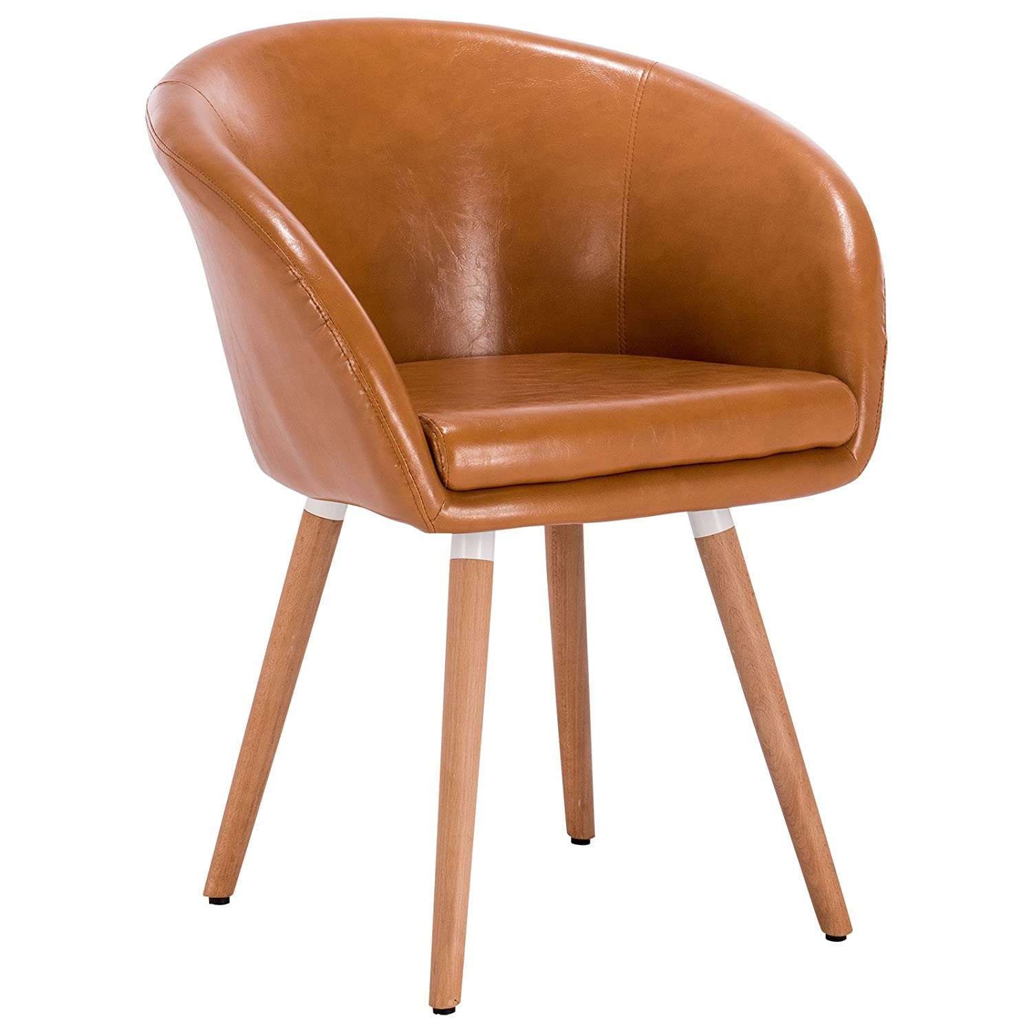 Fabulous Details About Caramel Tanned Faux Leather Retro Vintage Padded Lounge Armchair Dining Chair Pdpeps Interior Chair Design Pdpepsorg