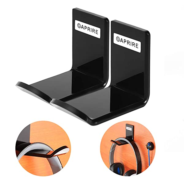 Headphone Stand Hanger Wall Mount - Pack of 2 OAPRIRE Acrylic Headphone Headset Holder, Best Gaming Headset Stand with Cable Clip - Save Desktop Space (Color: Black, Tamaño: Small size)