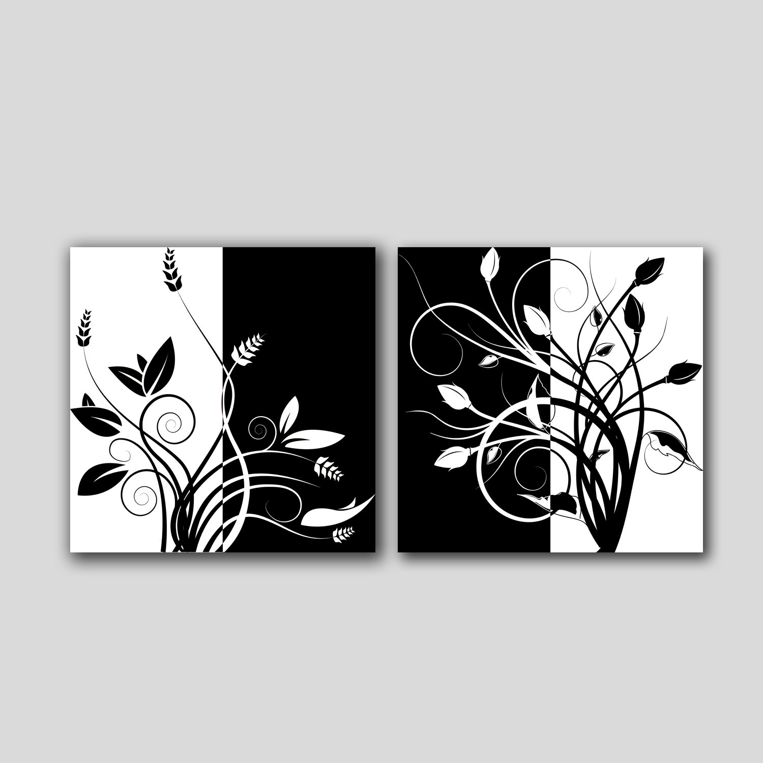 Lemon Tree Art Huge Canvas Print Wall Art Black And White Abstract Art Trees Pictures Modern Home Decoration Painting Set Of 2 Each Is 50 50cm