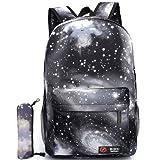 GIM Unisex Galaxy School Backpack Canvas Rucksack Laptop Book Bag Satchel Hiking Bag