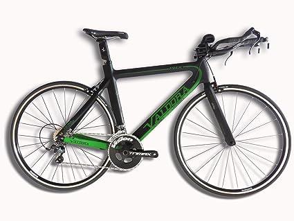 Valdora PHX Carbon Fiber Triathlon Bikes - Flat Black W/Green Accents -  Ultegra - Triathlon