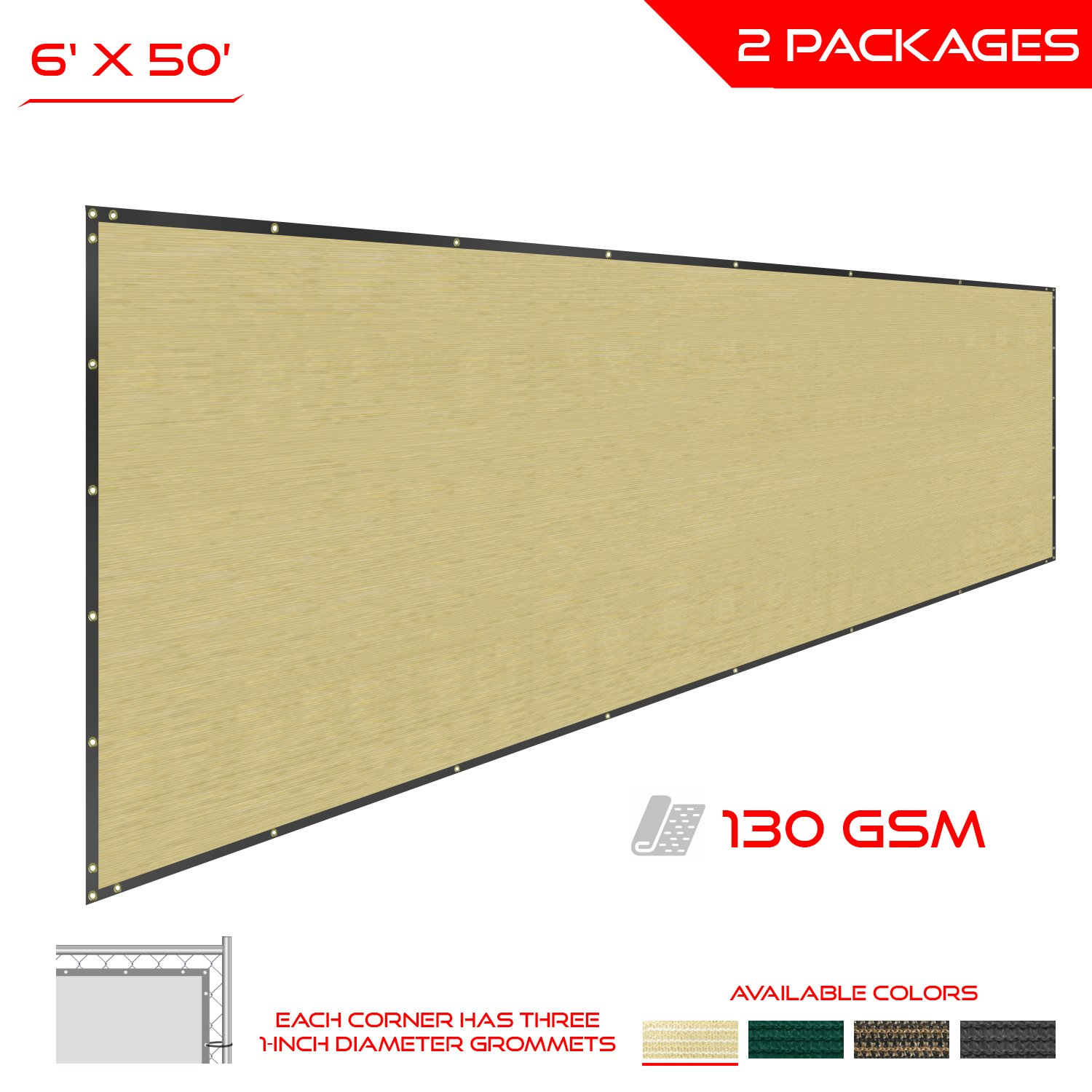 The Patio Shop Privacy Fence Screen 6' x 50' Commercial Outdoor Shade Windscreen Mesh Fabric with brass Gromment 130 GSM 88% Blockage 6' x 50' in color Beige-2 Years Warranty - Set of 2 by The Patio Shop