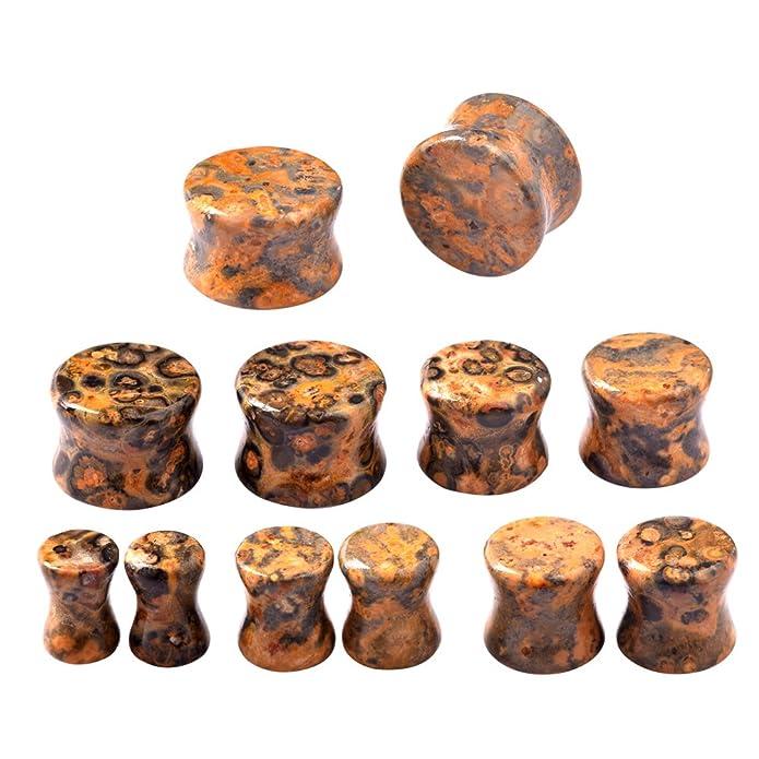 D&M Jewelry 2 Piezas de Orgánica Piedra, Dilatador de Piedra Pulida para los Oídos, Estilo F 5/8