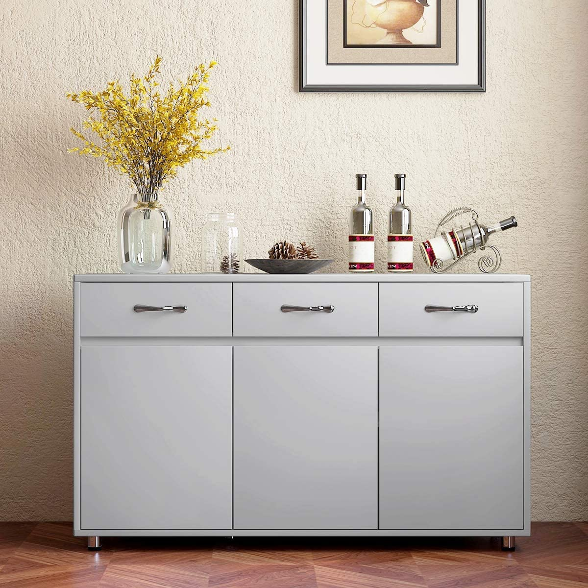 Amazon Com Kitchen Buffet Cabinet Dining Room Sideboard With 3 Drawers Buffet Table With Storage Grey Storage Cabinet Grey Buffets Sideboards