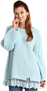 8fd245f6cad Umgee Women s Blue Cream Lace Knit Long Puff Sleeve Blouse Top Sweater