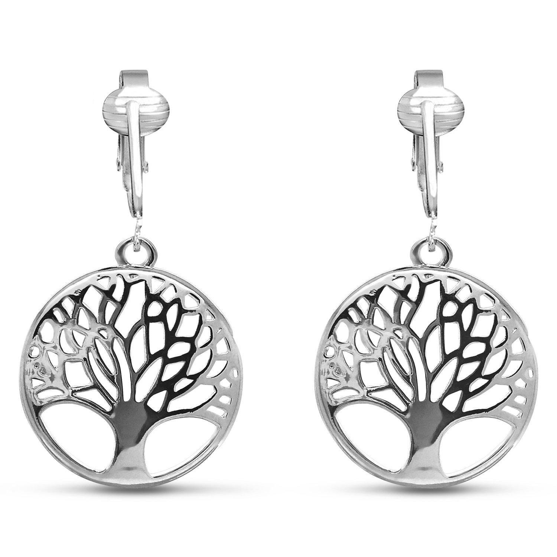 Womens Clip Earrings Silver, Silver Earrings Clip On for Women, Girls, Lightweight Silver Clip Earrings (Silver Tree of Life)
