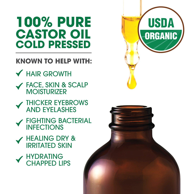 Shiny Leaf Aceite de ricino orgánico para el crecimiento sano del cabello y las pestañas reduce la apariencia de rotura y caída del cabello, ...