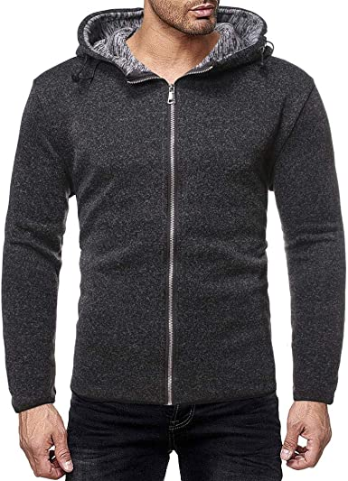 Mstyle Mens Trendy Splicing All Match Zip Front Knit Casual Long Sleeve Hooded Sweatshirt
