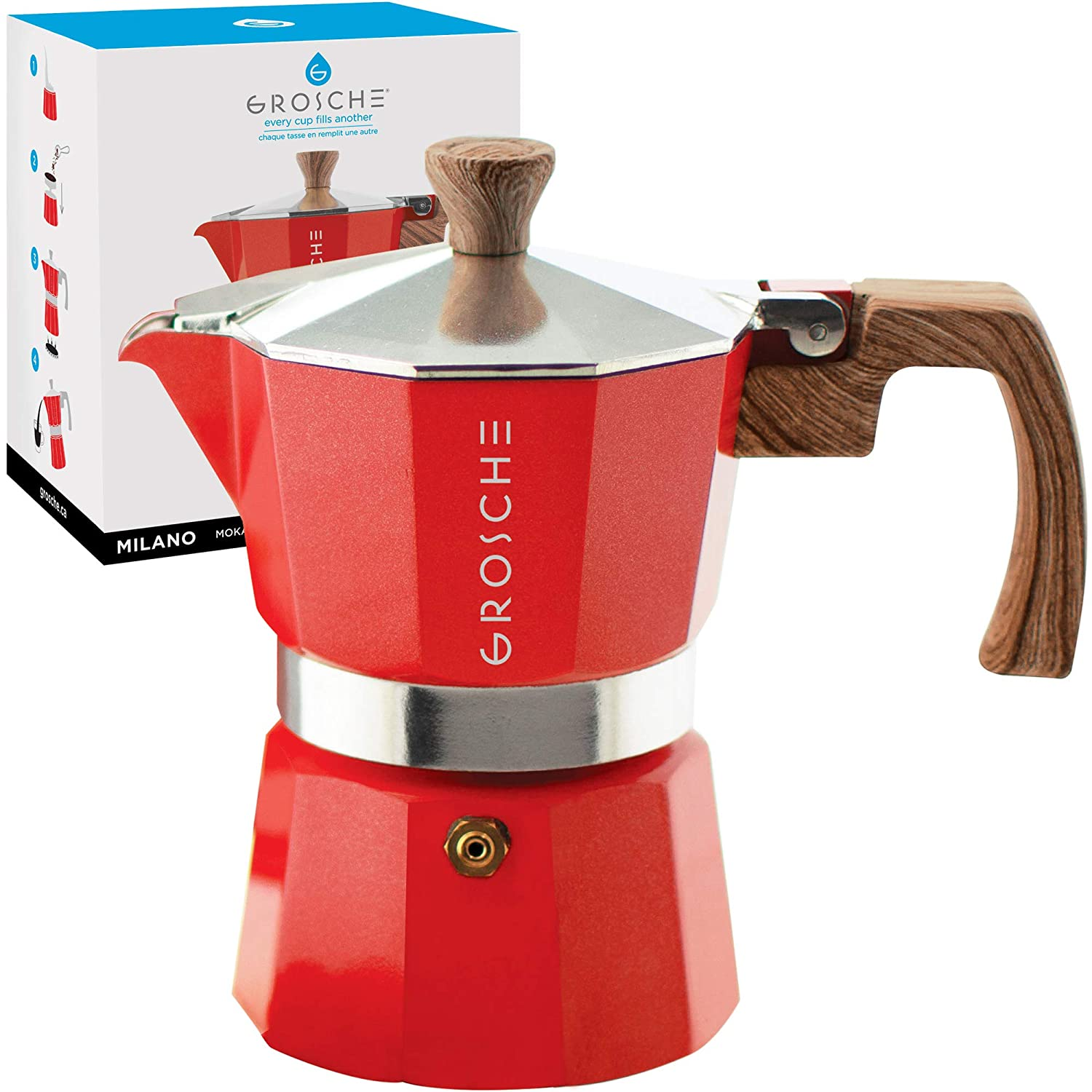 GROSCHE Milano Stovetop Espresso Maker Moka Pot 3 Cup - 5oz, Red - Cuban Coffee Maker Stove top coffee maker Moka Italian espresso greca coffee maker brewer percolator