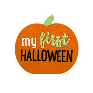 Pearhead my first halloween baby milestone pumpkin belly sticker orange