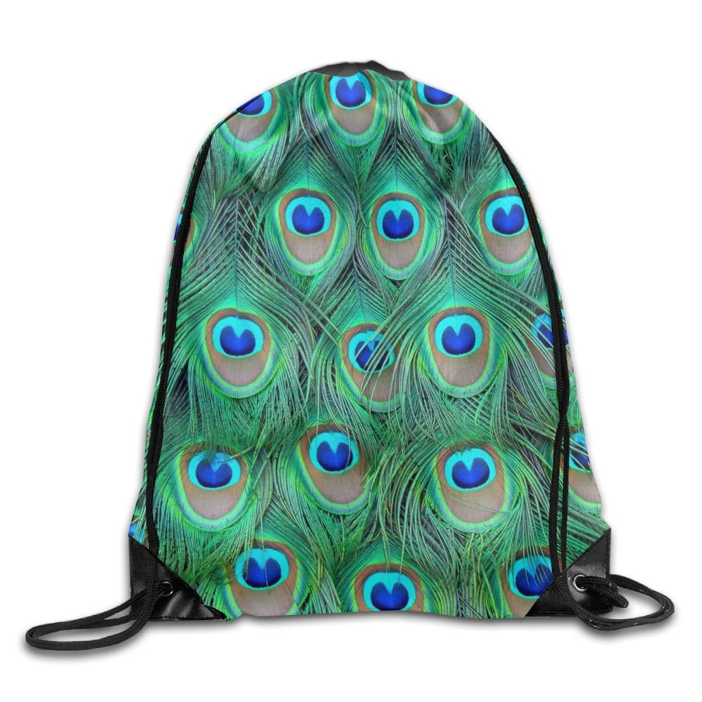 ZYHZYH Unisex Drawstring Backpack,Peacock Feathers Travel Bag Storage Bag,for Gym/Sports/Hiking/Climbing
