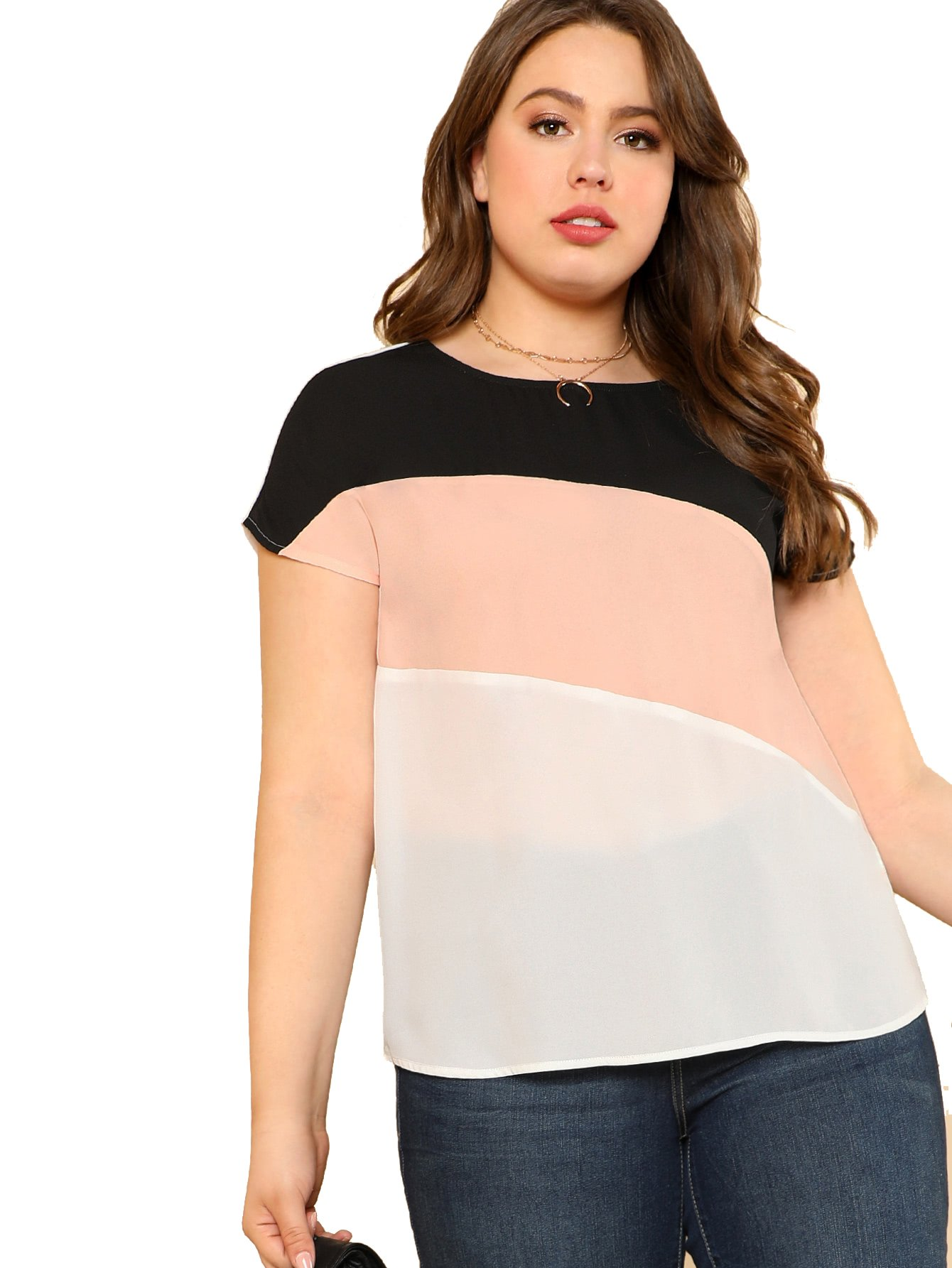 Romwe Women's Color Block Blouse Short Sleeve Casual Tee Shirts Tunic Tops Pink 0XL