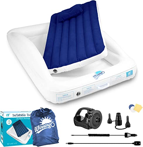 WINNINGO Inflatable Toddler Travel Bed with Rechargeable Air Pump, Portable Air Mattress for Kids, Including Air Pillow, Carry Bag, 110V AC 12V DC Adapter, Perfect for Home, Travel, Camping