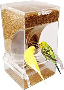ZOHOKO No Mess Bird Feeders Automatic Parrot Seed Tube for Parakeet Canary Cockatiel Finch