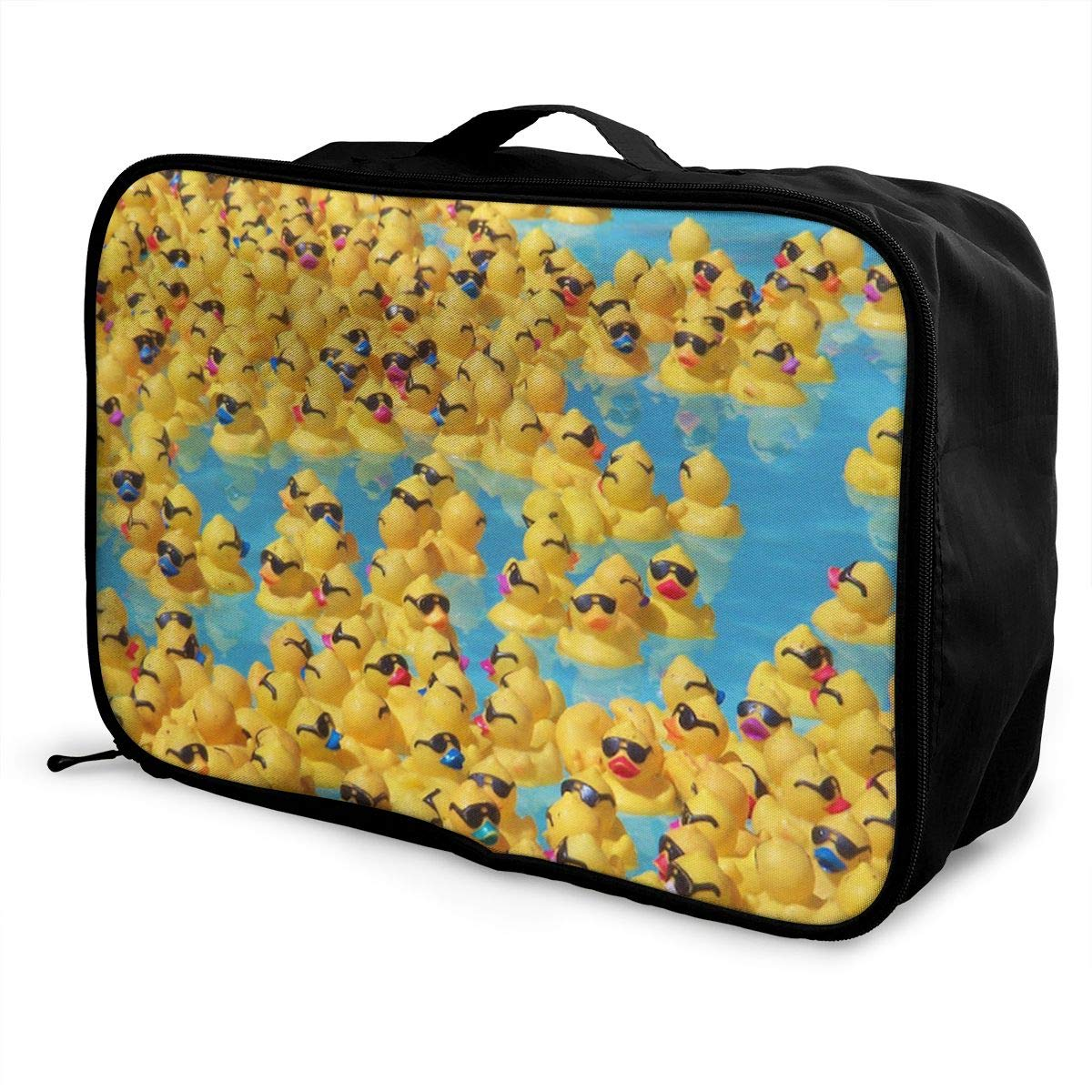 Yellow Ducks With Sunglasses Travel Duffel Bag Durable Luggage Organizer For Holiday Gym Storage Bag Weekend Tote Bag-Pack of 1