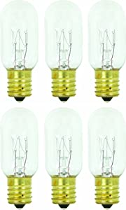 Pack of 6 25T8 25W Incandescent Salt Lamp & Appliance T8 Bulb with Candelabra Base, Clear Light Bulb