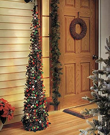 Slim Christmas Trees.Affordable Collapsible 65 Lighted Christmas Trees In Green Red For Small Spaces With Timer
