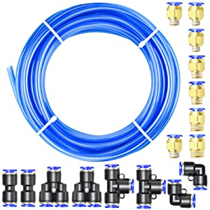 TAILONZ PNEUMATIC Blue 8mm or 5/16 OD 5mm ID Polyurethane PU Air Hose Pipe Tube Kit 10 Meter 32.8ft