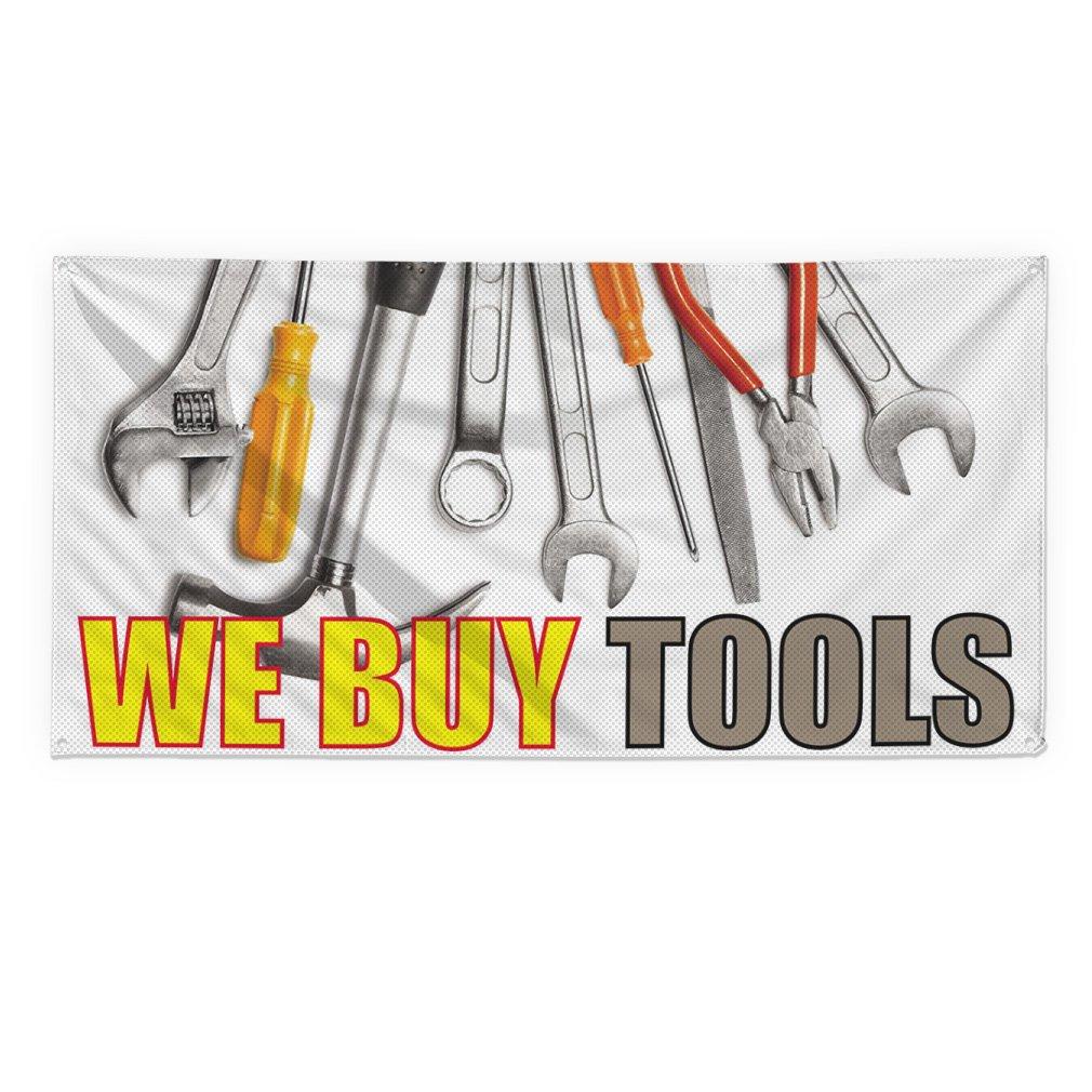 We Buy Tools #3 Outdoor Fence Sign Vinyl Windproof Mesh Banner With Grommets - 3ftx6ft, 6 Grommets
