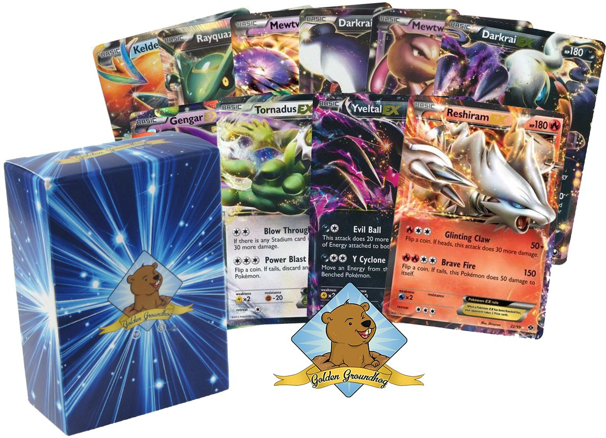 10 EX Ultra Pokemon Cards with 150 HP or Higher! No Duplication! Includes Golden Groundhog Box!