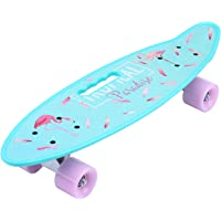 ENKEEO Skateboard Planche à roulettes Retro Cruiser 22 Pouces, 4 Roues Translucides PU, Table en Plastique Renforcé, Roulement ABEC-7, pour Fille Garçon et Adulte